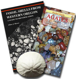 Photo shows our Oregon Coastal Beachcombers Package, plus the Glass Floats (no longer available) A Field Guide for collecting on Oregon beaches: includes the detailed autographed handbook of fossils and the companion guide with full color photos for identification of what you are likely to find ship as one parcel! In Stock for immediate shipping.  Buy it NOW and SAVE!